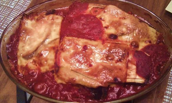 Aubergine- og tomatgrateng